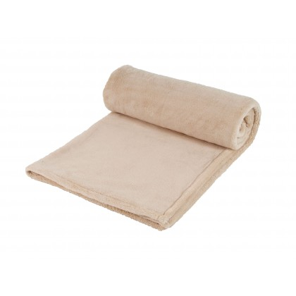Hřejivá deka z coral fleece, béžová, 155x120 cm
