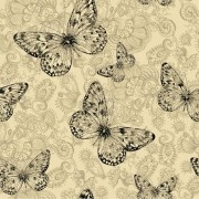 Šatovka, halenkovina, tričkovina, úplet LYCRA ,  vzor motýli, metráž, látka