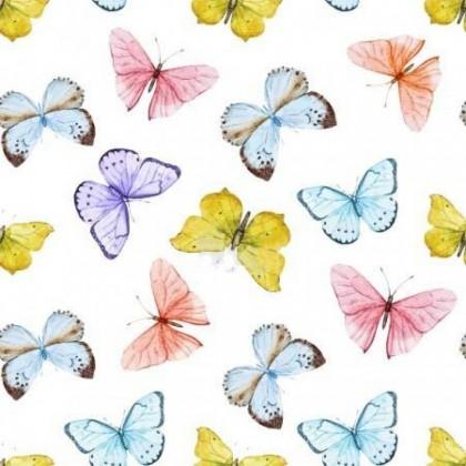Funkční tričkovina, šatovka, úplet LINDA, barevní motýli,  látka, metráž