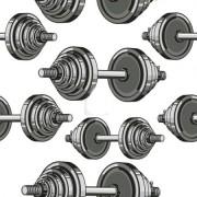 Funkční teplákovina POLAR, fitness činky, látka, metráž