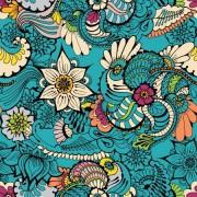 Látka na legíny a plavky, plavkovina, úplet LEGGINE , vzor divoké květy, metráž, látka