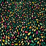 Šatovka, halenkovina, tričkovina, úplet LYCRA ,  vzor barevné kapky, metráž, látka