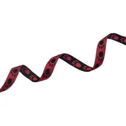 Popruh polypropylenový 15 mm červený s tlapičkami, oboustranný, galanterie, metráž