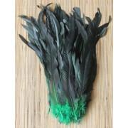Kohoutí peří barvené 30-35 cm, barva přírodní černá se zelenou