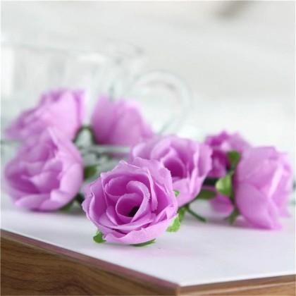 Růže 3 cm,  fialová, textilní dekorace, květina