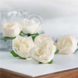 Růže 3 cm, krémová, textilní dekorace, květina