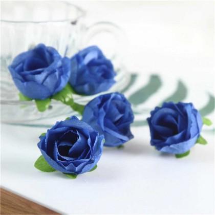 Růže 3 cm,tmavě modrá, textilní dekorace, květina