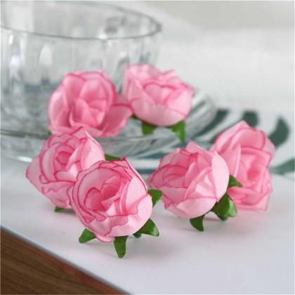 Růže 3 cm, růžová, textilní dekorace, květina