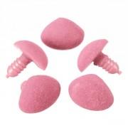Plastový bezpečnostní sametový hračkářský čumák, nos, růžový 12 x14 mm