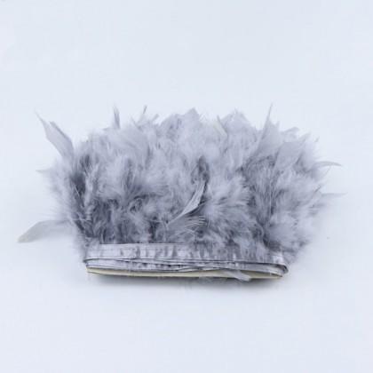 Prýmek z krůtího peří 12-15 cm, stříbrná