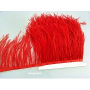 Prýmek z pštrosího peří 10-12 cm, cerveny