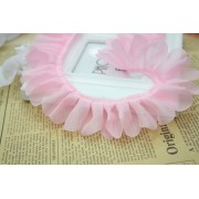 Oděvní prýmek, volánový prýmek skládaný, růžová 40mm