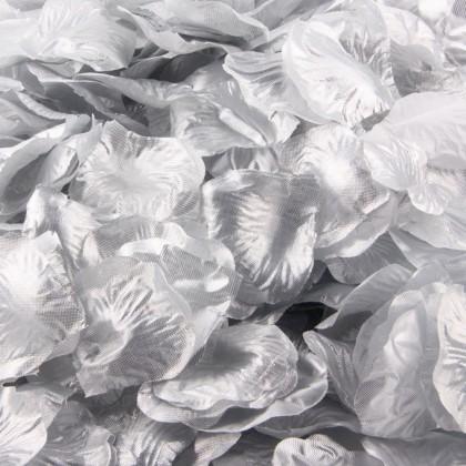 Plátky růží, textilní dekorace, barva stříbrná, balení 100 ks