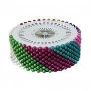 Špendlíky s perleťovou barevnou hlavičkou, plato