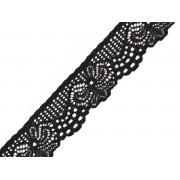 Krajka elastická, černá  25 mm
