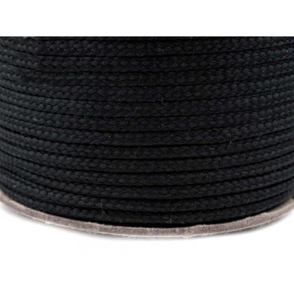 Provaz polyesterový,šňůra 2mm, černá , galanterie, metráž