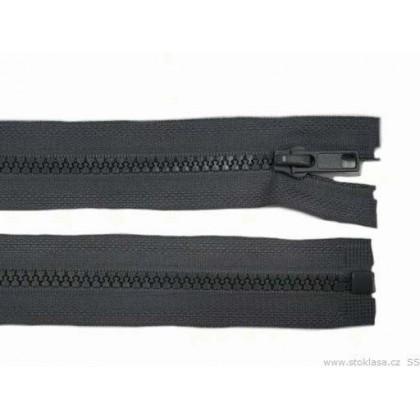 Zip kostěný, dělitelný, 5mm, 40cm délka, tmavě šedý