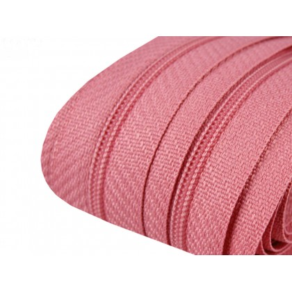 Zip spirálový, nekonečný pás 3mm, světle růžová, metráž
