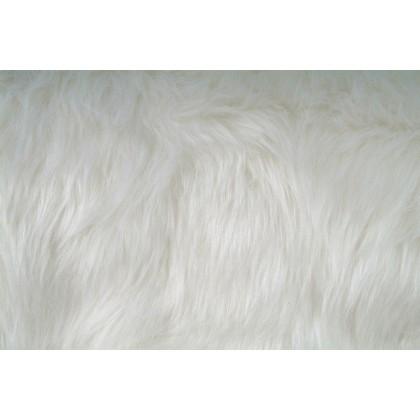Kožešina, dlouhý vlas 40mm, bílá, látky, metráž