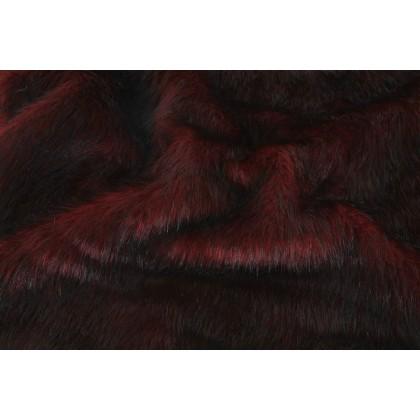 Kožešina, dlouhý vlas 60mm, vínová melír , látky, metráž