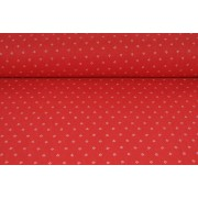 Plátno bavlněné červené, bílé kvítky jemné, krojovka metráž, látky