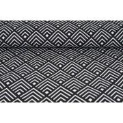 Plátno bavlněné, černo bílý geometrický vzor , metráž, látky