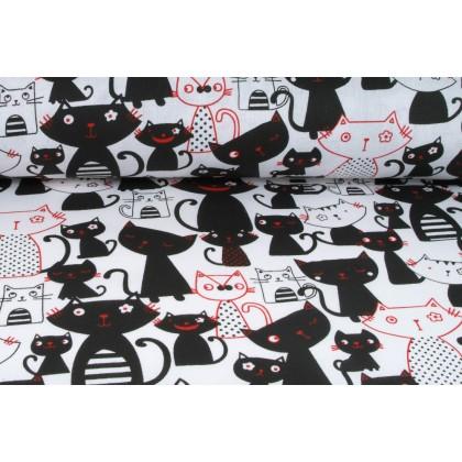 Plátno bavlněné černé a červené kočky na bílé, metráž, látky