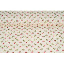 Plátno bavlněné jemné růžové kytičky na smetanové, metráž, látky
