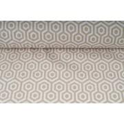 Plátno bavlněné geometrický vzor, béžový, metráž, látky