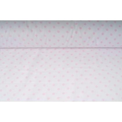 Plátno bavlněné růžové puntíky na bílé, metráž, látky