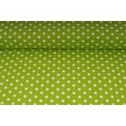 Plátno bavlněné zelené puntíky, metráž, látky