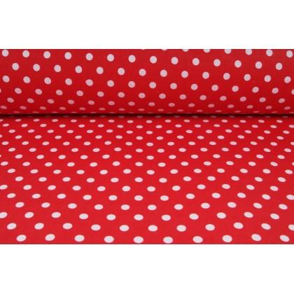 Plátno bavlněné červené, bílé puntíky jemné, metráž, látky