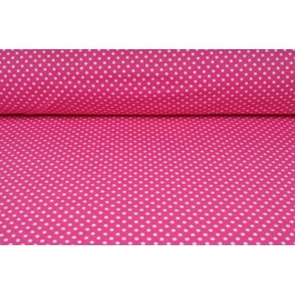 Plátno bavlněné růžové, bílé puntíky jemné, metráž, látky