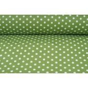 Plátno bavlněné zelené, bílé puntíky jemné, metráž, látky