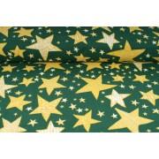 Plátno bavlněné -  vánoční motiv, malé a velké hvězdičky na zelené, metráž, látky