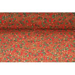 Plátno bavlněné -  vánoční motiv, drobné lístky na červené, metráž, látky