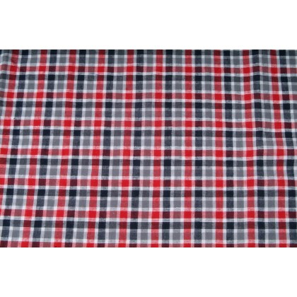 Plátno bavlněné,košilovina, kostka červená, metráž