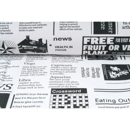 Plátno bavlněné, černý potisk, motiv noviny- NEWS, metráž, látky
