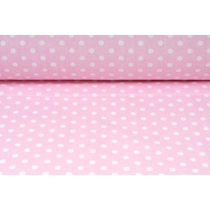 Plátno bavlněné, puntík světlá růžová,  retro motiv , metráž, látky