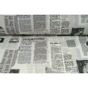 Plátno bavlněné,  motiv vintage noviny , metráž, látky