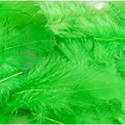 Peří barvené 3-5 cm, 10g, barva zelená
