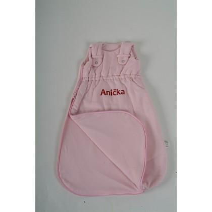 Dětský spací pytel BIO růžový se jménem miminka - VÝPRODEJ!!!!!