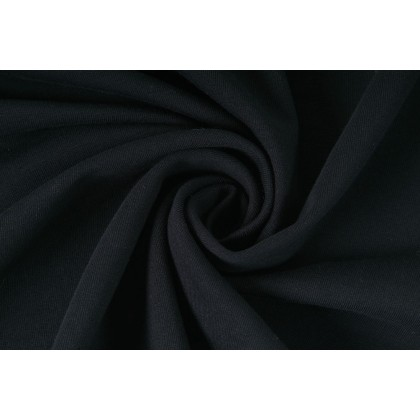 Elastická teplákovina nepočesaná, černá, látky, metráž, šíře role 175cm