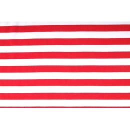 Úplet jednolíc, proužek 12mm červeno bílý, tričkovina, látky, metráž