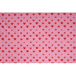 Úplet jednolíc, srdíčka růžovo červená, tričkovina, látky, metráž