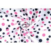Úplet jednolíc, bílá s růžovým puntíkem, tričkovina, látky, metráž