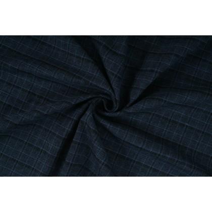Kostýmovina, kostýmová látka modro černé káro, látka, metráž - doprodej SLEVA 60%